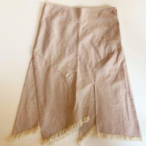 BCBGMaxazria Asymmetrical Cotton Fringe Skirt